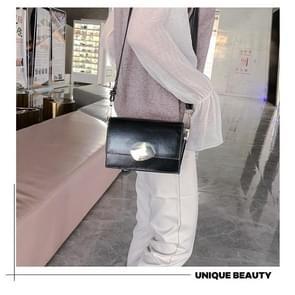 Retro Solid kleurvierkantje klepje Casual kleine tas dames schoudertas Messenger (zwart)