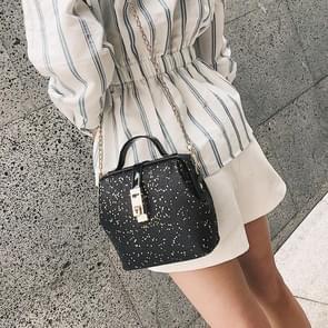 Fashion Shiny PU Leather Small Square Ladies Messenger Bag Single Shoulder Handbag (Black)