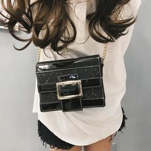 Fashion Shiny PU Leather Small Square Handbag Ladies Shoulder Messenger Bag (Black)