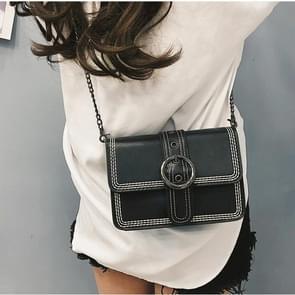 Retro PU Leather Small Square Ladies Messenger Bag Shoulder Bag (Black)