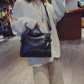 Casual Large Capacity PU Leather Shoulder Bag Ladies Handbag Rivet Crossbody Bag (Black)