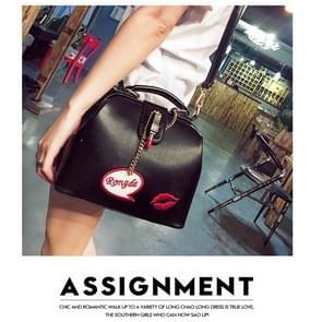 Geborduurde Lipstick arts Bag dames schoudertas rode Lip handtas  grootte: L (zwart)
