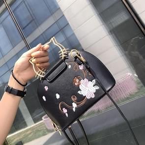 Cat Shaped Embroidery Printing Shoulder Bag Casual Handbag Female Bag Messenger Bag (Black)