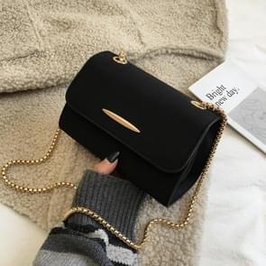 Effen kleur Casual Scrub PU leer schouder tas dames handtas messengertas (zwart)