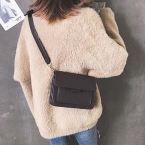 Effen kleur Casual PU schouder tas dames handtas messengertas (zwart)