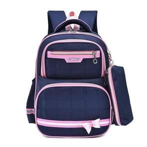 Lovely Double Shoulders School Bag Backpack Bag with Pen Bag (Blue Pink)