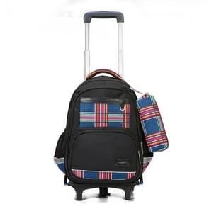 Lovely Double Shoulders School Bag Two-wheeled Rod Backpack Bag with Pen Bag (Black)