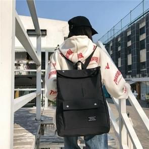 Button Double Shoulders School Bag Travel Backpack Bag (Black)