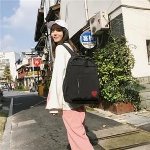 Pure Color Heart Nylon Double Shoulders School Bag Travel Backpack Bag (Black)