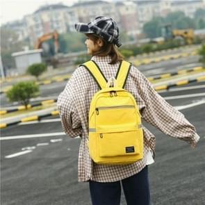 Reflective Strip Zipper Nylon Double Shoulders School Bag Travel Backpack Bag (Yellow)
