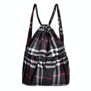 Printing Double Shoulders Drawstring Sports Backpack Bag (Black Grid)