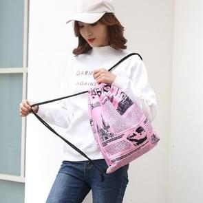 News Newspaper Pattern Printing Double Shoulders Drawstring Sports Backpack Bag (Pink)