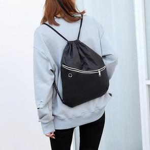 Drawstring Double Shoulders Sports Backpack Bag with Earphone Line Hole (Black)