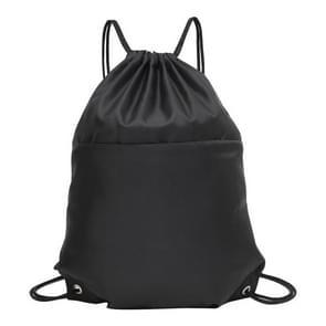 Drawstring Nylon Double Shoulders Sports Backpack Bag (Black)