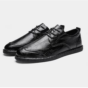 Round Head Outdoor Casual Leather Shoes (Color:Black Size:39)