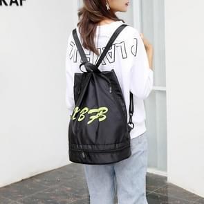 Drawstring Oxford Double Shoulders Sports Backpack Bag (Black Green)