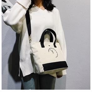 Clock Pattern Cavans Shoulder Crossbody Bag Ladies Handbag Bags (Black)
