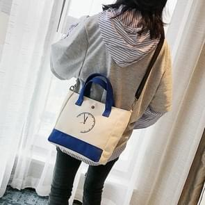 Clock Pattern Cavans Shoulder Crossbody Bag Ladies Handbag Bags (Blue)