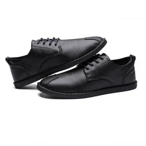 Round Head Lightweight Breathable Wear-resistant Casual Leather Shoes (Color:Black Size:39)