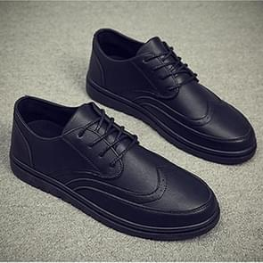 Outdoor Leisure Round Head Microfiber Leather Shoes for Men (Color:Black Size:39)