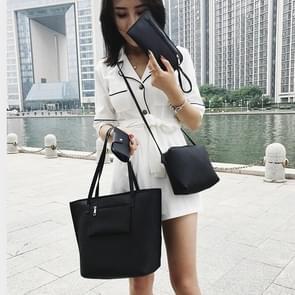 4 in 1 Casual PU schouder tas dames handtas messengertas (zwart)