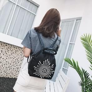 Pearl Sun PU Leather Double Shoulders School Bag Travel Backpack Bag (Black)