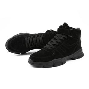 Fashion Trend High-top Solid Color Outdoor Casual Shoes for Men (Color:Black Size:39)