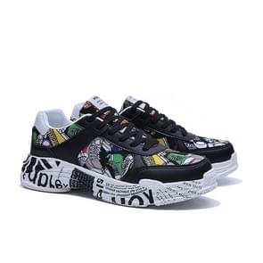 Trend Graffiti Outdoor Sport Shoes for Men (Color:Black Size:39)