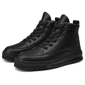 High-top Hip-hop Solid Color Fashion Casual Sport Shoes for Men (Color:Black Size:39)
