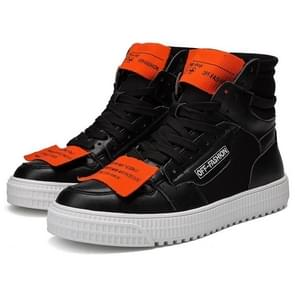 Fashion Personality Decorative Splice High-top Casual Shoes for Men (Color:Black Size:44)