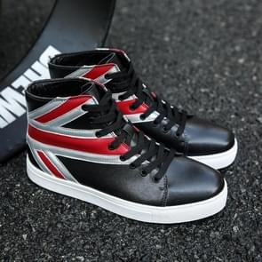 Round Head High-top Lace-up PU Casual Shoes for Men (Color:Black Size:42)