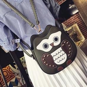 Owl PU Leather Single Double Shoulders Bag Ladies Handbag Messenger Bag (Black)