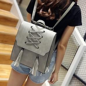 Shoelace Tassel PU Leather Double Shoulders Bag Ladies Handbag (Grey)
