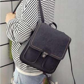 PU Leather Double Shoulders School Bag Travel Backpack Bag (Black)