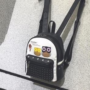Owl Pattern PU Leather Double Shoulders Bag Ladies Backpack Bag (Black)
