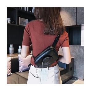 Dual-use PU lederen schoudertas borst zak taille tas (zwart)