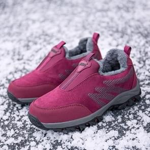Round Head Suede Comfortable Warm Shoes (Color:Red Size:37)