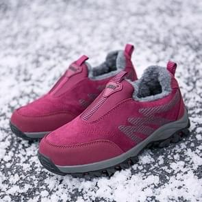 Round Head Suede Comfortable Warm Shoes (Color:Red Size:38)