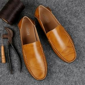 Soft and Comfortable Leather Peas Shoes for Men (Color:Light Brown Size:44)