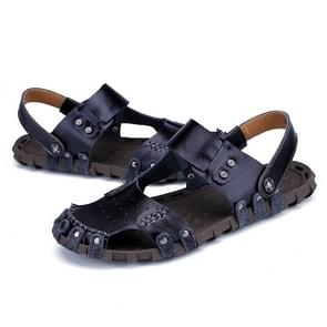 Comfortable Soft Leather Solid Color Beach Sandals for Men (Color:Black Size:39)