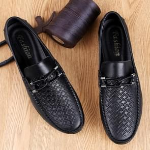 Soft and Comfortable Round Head PCowpea Embossing Surface Leather Shoes for Men (Color:Black Size:44)