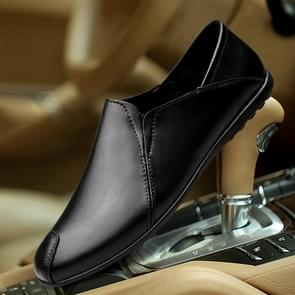 Breathable Comfortable Soft Leather Casual Peas Shoes for Men (Color:Black Size:37)