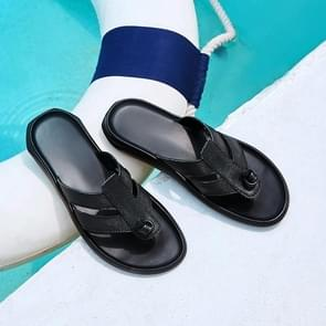 Summer Fashion High Stretch Comfortable Leather Slippers for Men (Color:Black Size:45)