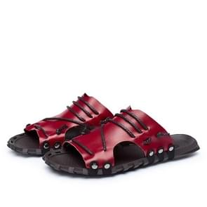 Summer Fashion Crocodile Texture Leather Sandals Beach Shoes (Color:Wine Red Size:47)