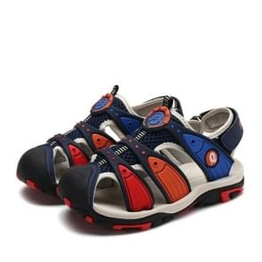 Summer Korean Version Of The New Children's Baotou Beach Shoes (Color:Dark Blue Red Size:28)