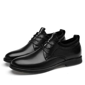 Round Head Solid Color Wear-resistant Casual Leather Shoes (Color:Black Size:44)