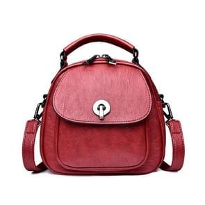 Fashion PU Double Shoulders Bag Messenger Bag Ladies Backpack Handbag (Red)