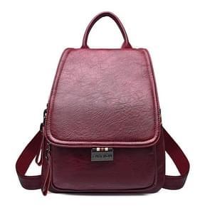 Fashion PU Double Shoulders Bag Ladies Backpack Handbag (Red)
