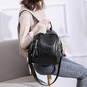 Fashion PU Double Shoulder Bag Messenger Bag Ladies Handbag (Black)