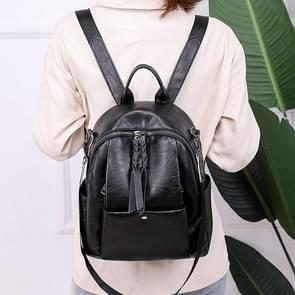 Multi-function Fashion PU Double Shoulder Bag Messenger Bag Ladies Backpack Handbag (Black)